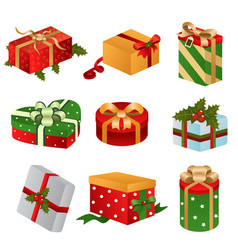 different designs of christmas present boxes vector image