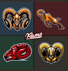 Different ram heads cartoon style vector