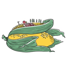 Doodle ear of corn vector
