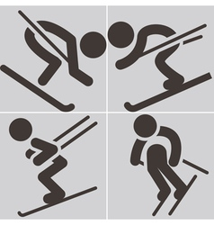 Downhill skiing icons vector image