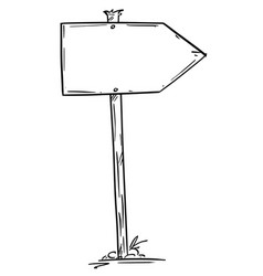 Drawing small empty old wooden road arrow sign vector