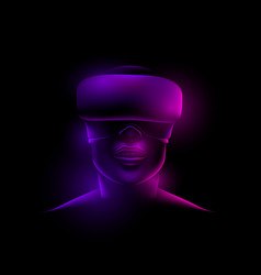 face with virtual glasses on a black background vector image