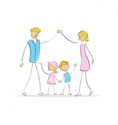 family forming shape of home vector image