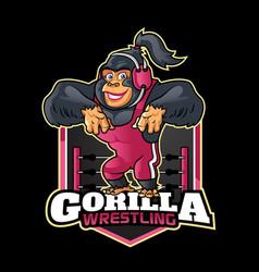 female gorilla wrestling mascot logo vector image