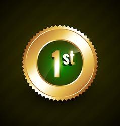 first number golden badge design vector image