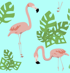 Flamingo and tropical leaves swamless patern vector