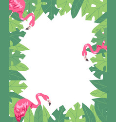 flamingo vertical banner beach design jungle vector image