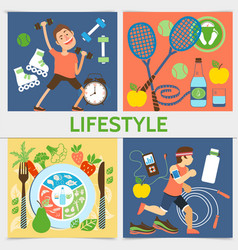 flat active lifestyle square concept vector image