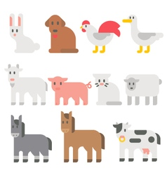 Flat design farm animal set vector image