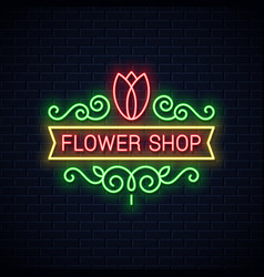 flower shop neon sign flowers store neon tulip vector image