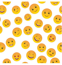 Funny emoticons seamless pattern template vector