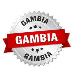 Gambia round silver badge with red ribbon vector