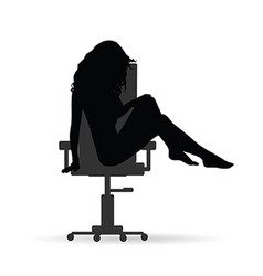 girl figure silhouette on chair grey on white vector image