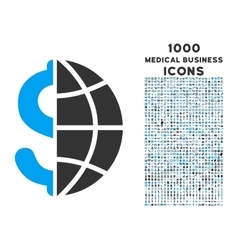 Global Business Icon with 1000 Medical Business vector image