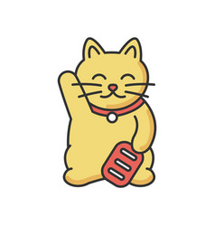 Gold maneki neko rgb color icon vector