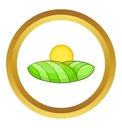 Green and sun icon vector