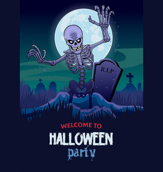halloween design with skull coming out from grave vector image