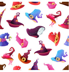 halloween holiday seamless pattern with witch hats vector image