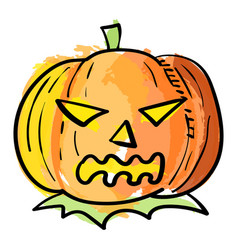 Halloween pumpkin in watercolor effect vector