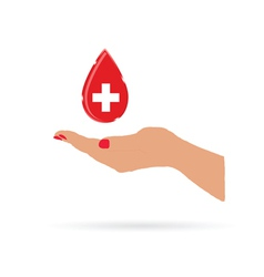 Hand with drop blood color vector