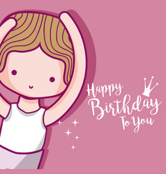Happy birthday card with cute boy dancer vector