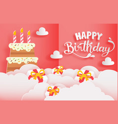 Happy birthday greeting card with cake and gift vector
