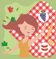 happy woman relaxing blanket picnic food nature vector image