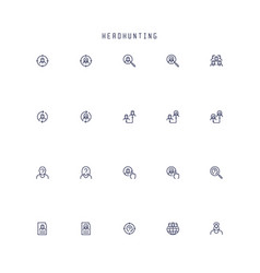 headhunting related icon set in outline style vector image