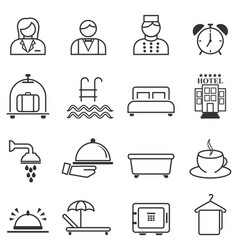 Hotel hospitality and resort line web icons vector