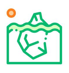 iceberg in ocean global warm thin line icon vector image