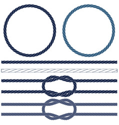 isolated navy rope marine knots striped rope in vector image