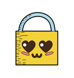 Kawaii cute tender padlock element vector
