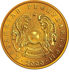 Kazakh money gold coin vector