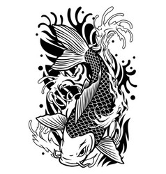 koi fish tattoo design in classic japan style vector image