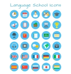 Language school flat education icons vector image