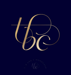 logo t b c monogram gold curls elements vector image