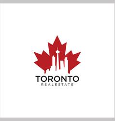 Maple toronto real estate logo design vector