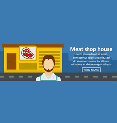 meat shop house banner horizontal concept vector image