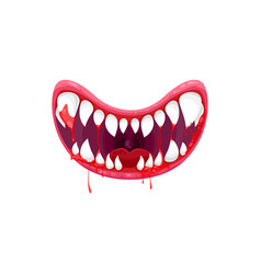 Monster creepy smiling jaws with sharp white teeth vector