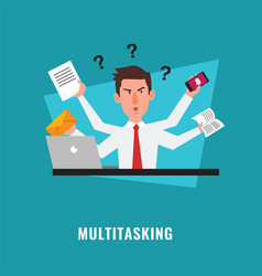 Multitasking businessman with many hands vector