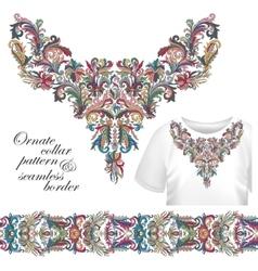 Neckline embroidery fashion print decor lace vector