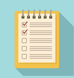 notebook checklist icon flat style vector image