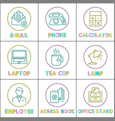 office workspace arrangement lineout vector image