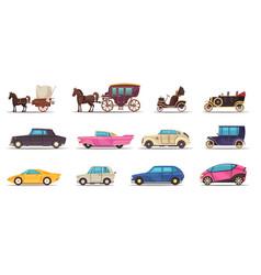 old modern ground transportation set vector image