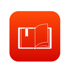 open book icon digital red vector image