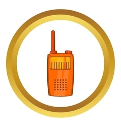 Orange portable handheld radio icon vector