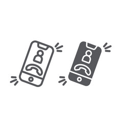 Phone call line and glyph icon telephone and vector