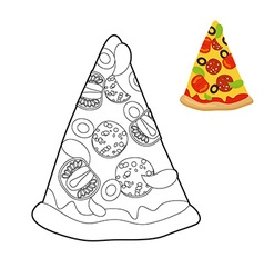 Pizza coloring book Delicious slice of pizza in vector image