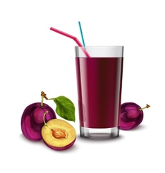 Plum juice glass vector image