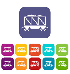 Railway wagon icons set flat vector